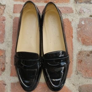 Via Spiga | black patent leather loafers
